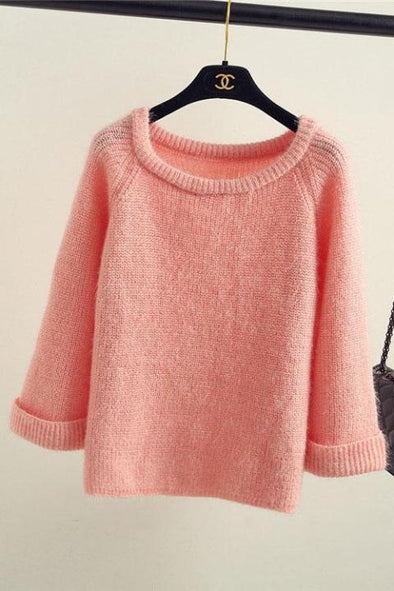 Pink Pullover Female O-Neck Casual Knitted Women's Sweaters | TeresaClare