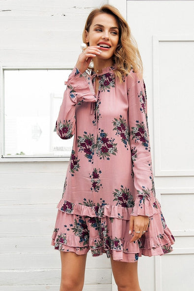 Pink Ruffle V Neck Lace Up Print Mini Women Loose Long Sleeve Fashion Dress | TeresaClare