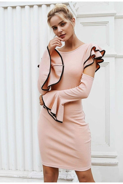 Pink Sexy Cold Shoulder Ruffles Knitted Women Dress | TeresaClare