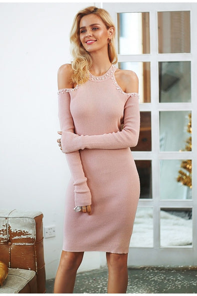 Pink Sexy Off Shoulder Sweater Dress With Beading | TeresaClare
