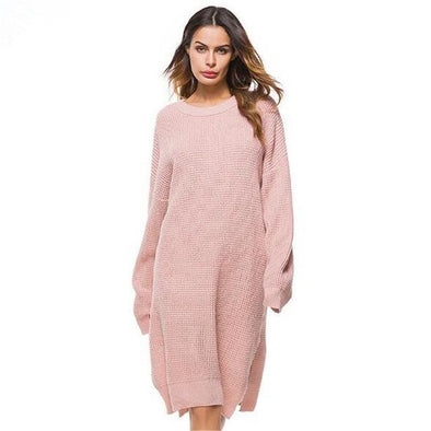 Pink Side Split Knitted Long Sleeve Sweater Dress | TeresaClare