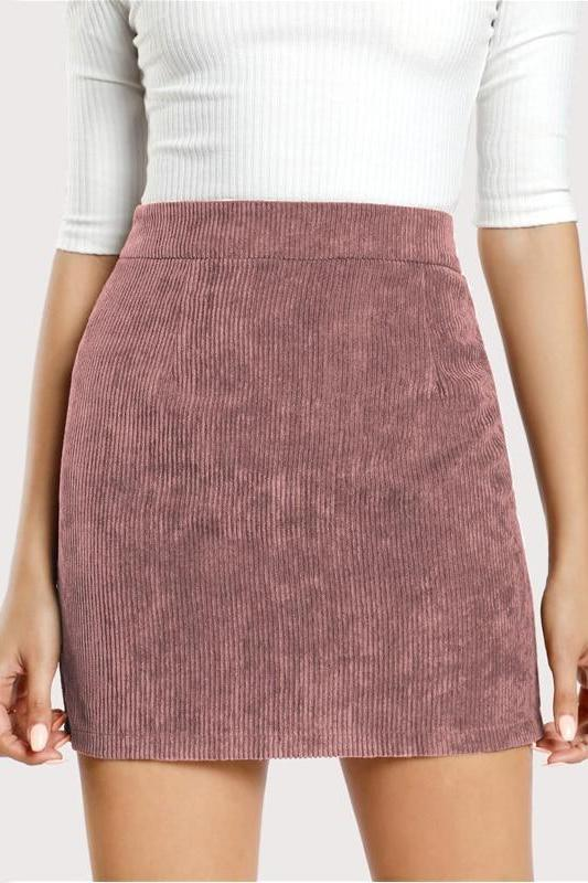 Pink Solid Corduroy Back Zipper Casual Bodycon Skirt 2018 Autumn Sexy Mini Women Skirts Winter Streetwear Skirts | TeresaClare