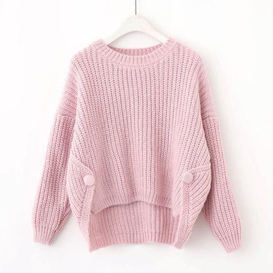 Pink Solid O-Neck Long Sleeve Knitted Pullovers Short Sweater | TeresaClare