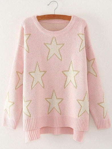Pink Stars Printed Irregular Knitted Pullovers Female Sweater | TeresaClare