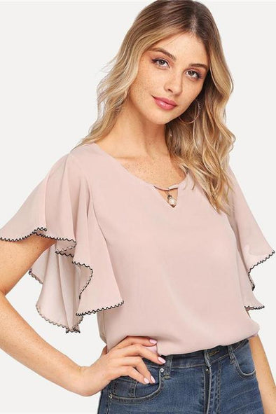 Pink V Neck Ruffle Sleeve Pearl Blouse | TeresaClare