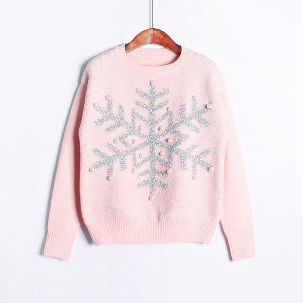 Pink Women's Fashion Pearl Decorate Knitted Pullover Sweater | TeresaClare