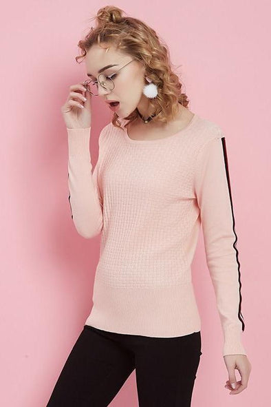 Pink Women's Fashion Striped Patchwork Sleeve Knitted Sweater | TeresaClare