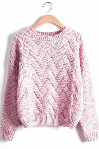 Pink Women's Plaid Thick Knitting Mohair Pullover Sweater | TeresaClare