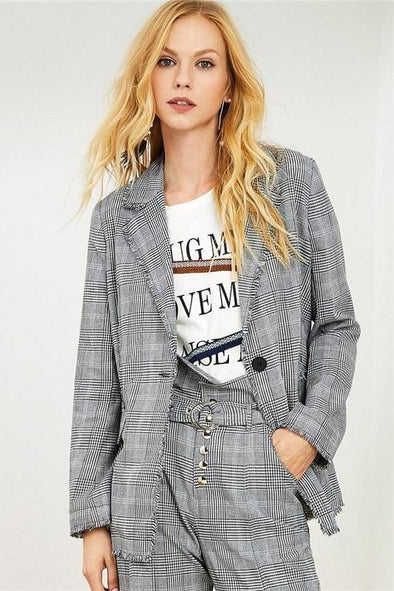 Plaid Frayed Edge Houndstooth Tweed Long Blazer | TeresaClare