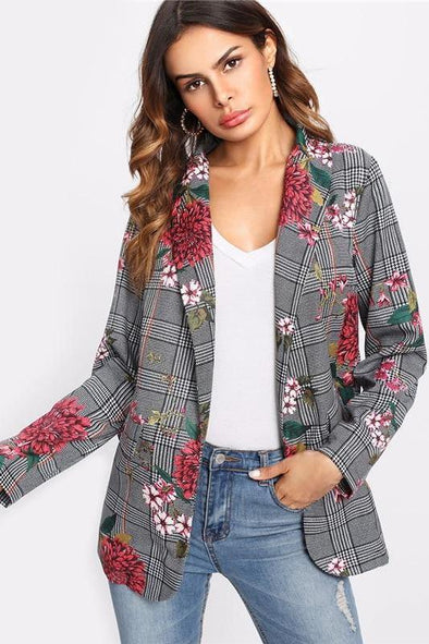 Plaid Long Sleeve Colored Fashion Shawl Collar Blazer | TeresaClare