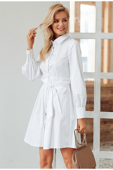 Pleated High Waist Women Vintage Office Lady White Fashion Dress | TeresaClare