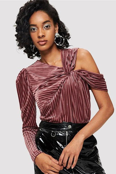 Pleated Knot One Shoulder Rib Velvet Blouse | TeresaClare