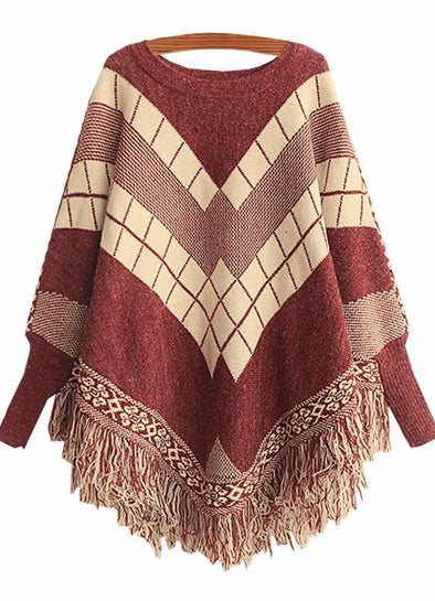 Poncho O-Neck Tassel Cloak Sweater For Women | TeresaClare