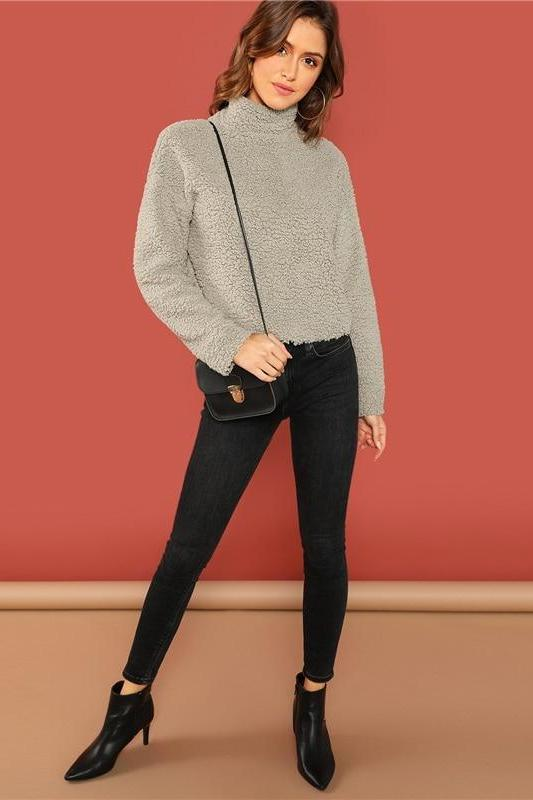 Preppy Mock-Neck Solid Long Sleeve Teddy Pullover Sweater | TeresaClare