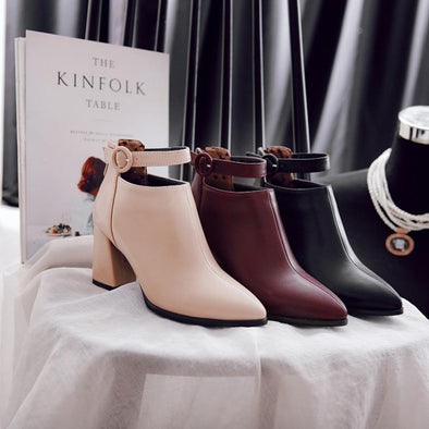 PU Fashion Zipper Ankle Boots Buckle Pointed Toe | TeresaClare
