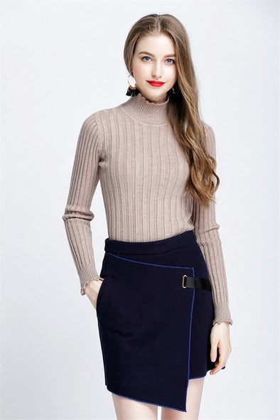 Pullover Sweater For Women Fall Slim Elastic Turtleneck | TeresaClare