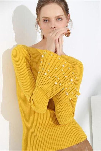 Pullovers Slim Slash V-neck Beading Sweater | TeresaClare