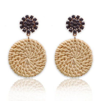 Purple Rhinestone Straw Weave Rattan Drop Earrings For Women | TeresaClare