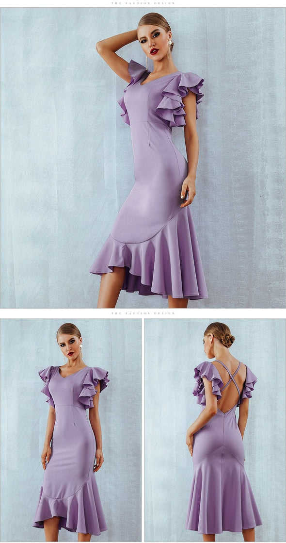 Purple Ruffles Butterfly Sleeveless Backless Bodycon Dress | TeresaClare