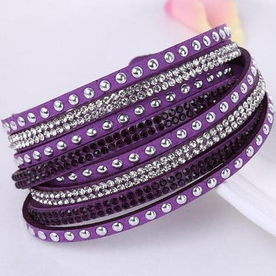 Purple Trendy Style Multilayer Buckle Leather Bracelets & Bangles | TeresaClare