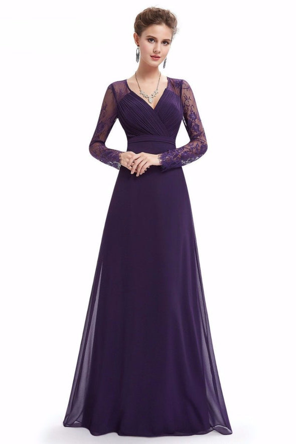 Purple Women's Elegant V-Neck Long Sleeve Lace Floor-Length Evening Dress | TeresaClare