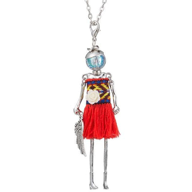 Red 2 Tassel Doll Long Pendant Multicolor Necklace | TeresaClare