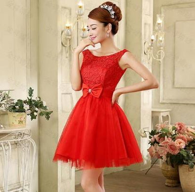 Red A-Line Scoop Neck Tulle Lace Homecoming Dress With Bow | TeresaClare