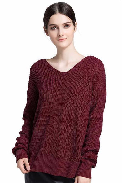 Red Acrylic V-Neck Casual Sweater With Full Sleeves | TeresaClare