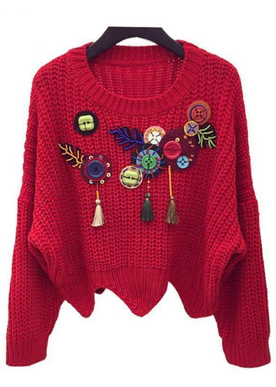 Red Batwing Sleeve Sweater With Tassel Button Beading And Sequins | TeresaClare