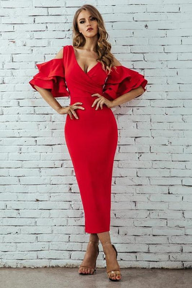 Red Bodycon Party Ruffle Butterfly Short Sleeve Midi Club Dress | TeresaClare