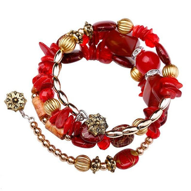 Red Bohemian Charm Crystal Nature Wood Wrap Bracelets | TeresaClare