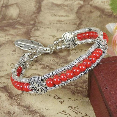 Red Bohemian Multilayer Beads Feather Bracelet | TeresaClare