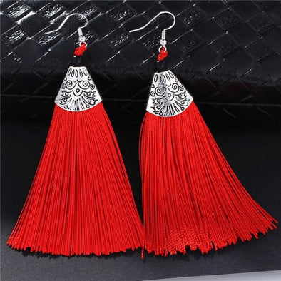 Red Boho Drop Tassel Big Statement Vintage Dangle Earrings | TeresaClare