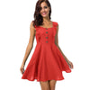 Red Casual Cotton Linen Mini A-Line Fashion Dress With Straps | TeresaClare