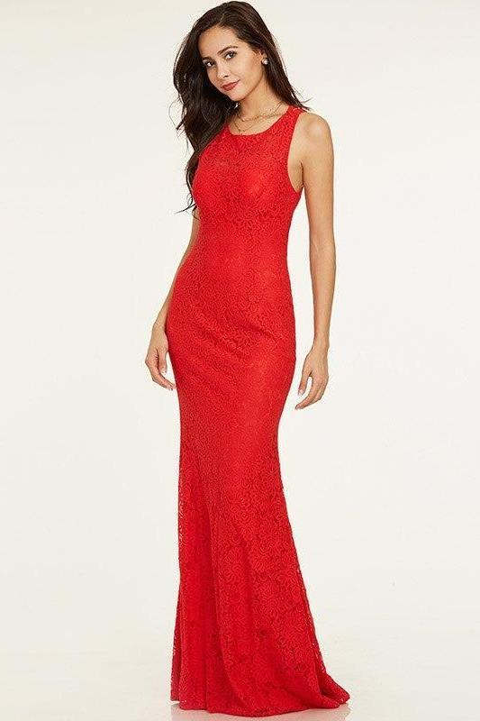 Red Criss-Cross Straps Scoop Sleeveless Lace Straight Evening Dress | TeresaClare