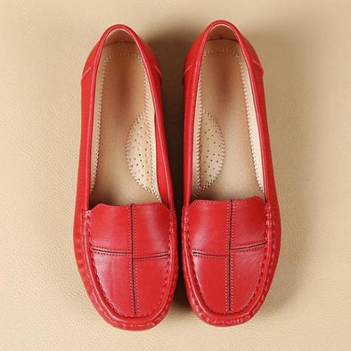 Red Elegant Custom Made Leather Flat Shoes For Women | TeresaClare