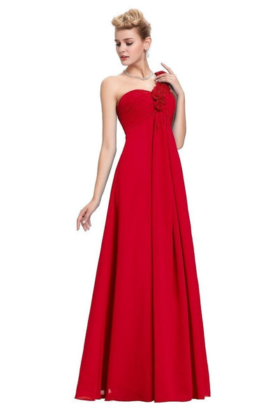 Red Elegant Empire One Shoulder Prom Dress With Flowers | TeresaClare