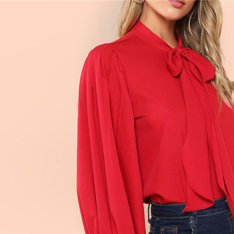003c991ef0b2d1 Red Elegant Tie Neck Pleated Button Back Stand Collar Blouse. Size Chart.  Follow the size chart to determine your size.
