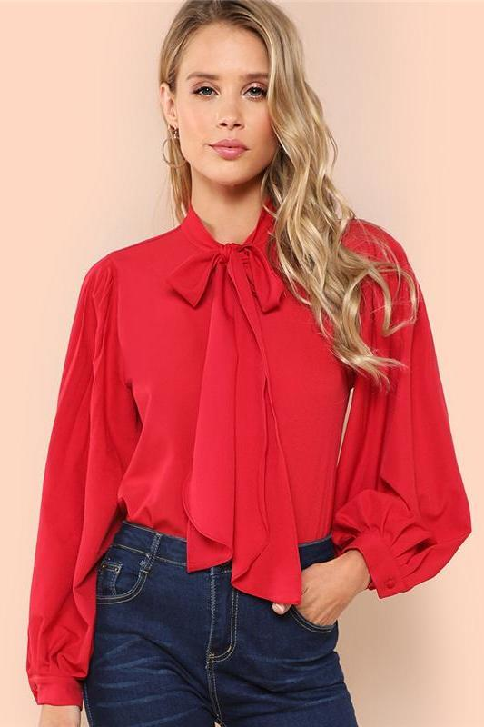 cecd9fc458d878 Shop Red Elegant Tie Neck Pleated Button Back Stand Collar Blouse Now! –  TeresaClare