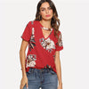Red Elegant V Cut Neck Keyhole Back Floral Blouse | TeresaClare