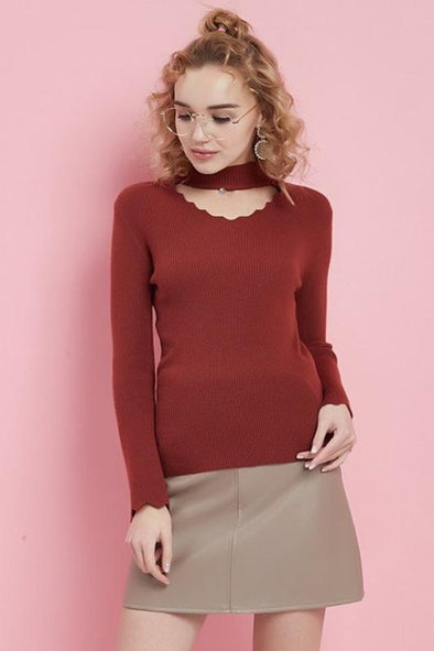Red Fashion Diamond V-neck Flare Sleeve Knitted Pullover Sweater | TeresaClare
