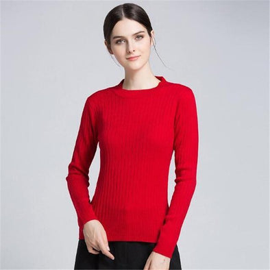 Red Fashion O-Neck Knitted Pullovers Casual Sweater | TeresaClare