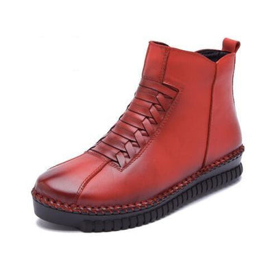 Red Handmade Women's Winter Boots Genuine Leather | TeresaClare