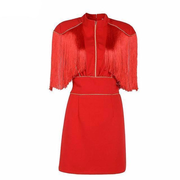 Red Hot Short Sleeve Tassel Mini Celebrity Party Dress | TeresaClare