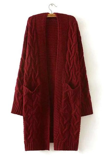 Red Long Cardigan Twist Casual Loose Sweater For Women | TeresaClare
