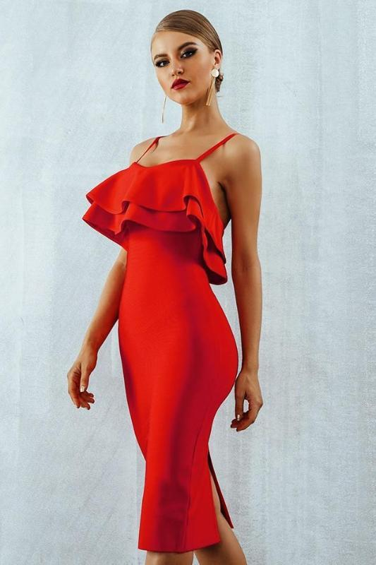 Red Midi Spaghetti Strap Bodycon Bandage Dress With Ruffles | TeresaClare