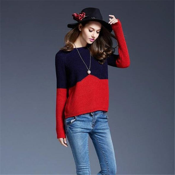 Red O-Neck Fashion Patchwork Knitted Pullovers Sweater | TeresaClare