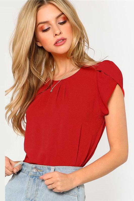 Red Pleated Petal Sleeve Top Round Neck Blouse | TeresaClare