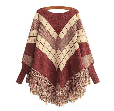 Red Poncho O-Neck Tassel Cloak Sweater For Women | TeresaClare