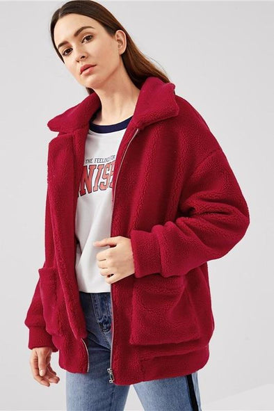 Red Preppy Highstreet Drop Shoulder Oversized Jacket | TeresaClare